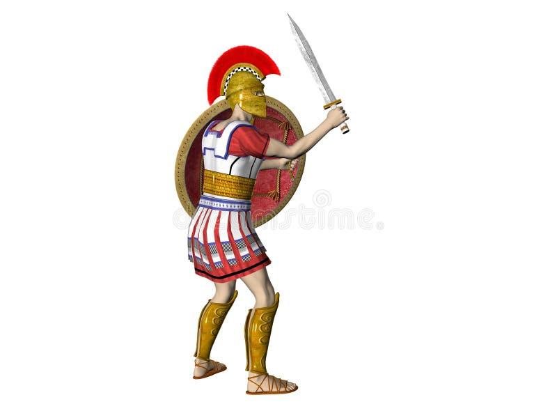 Guerreiro espartano ou romano grego ilustração stock