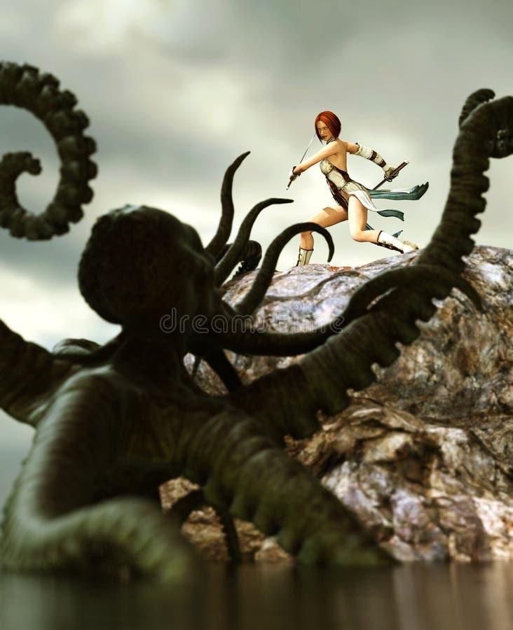 Guerreiro fêmea contra o polvo gigante ilustração do vetor