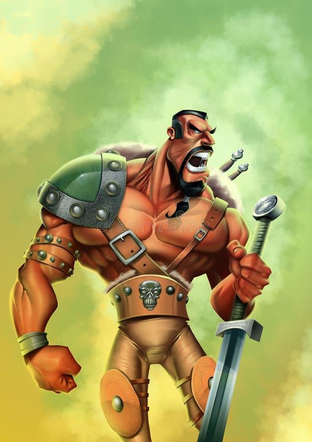 Guerreiro forte com uma espada ilustração do vetor