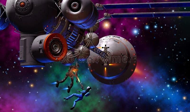 Guerreiro futurista da mulher que luta com um robô, armado com a arma, perto de uma nave espacial grande, ilustração 3d ilustração do vetor