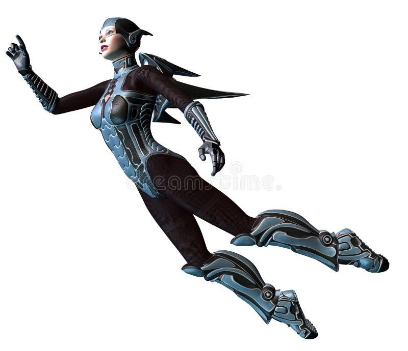 Guerreiro futurista da mulher, voando com um jetpack, ilustração 3d ilustração do vetor