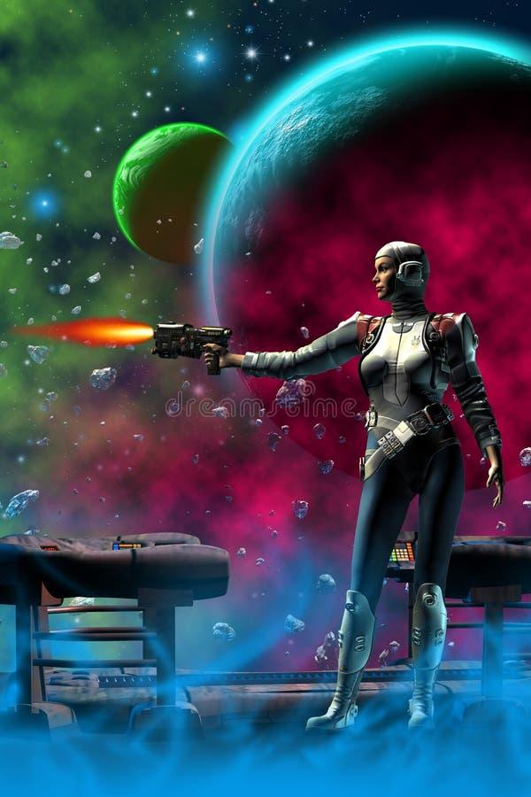Guerreiro futurista em um planeta estrangeiro, da mulher illustratiion 3d ilustração do vetor