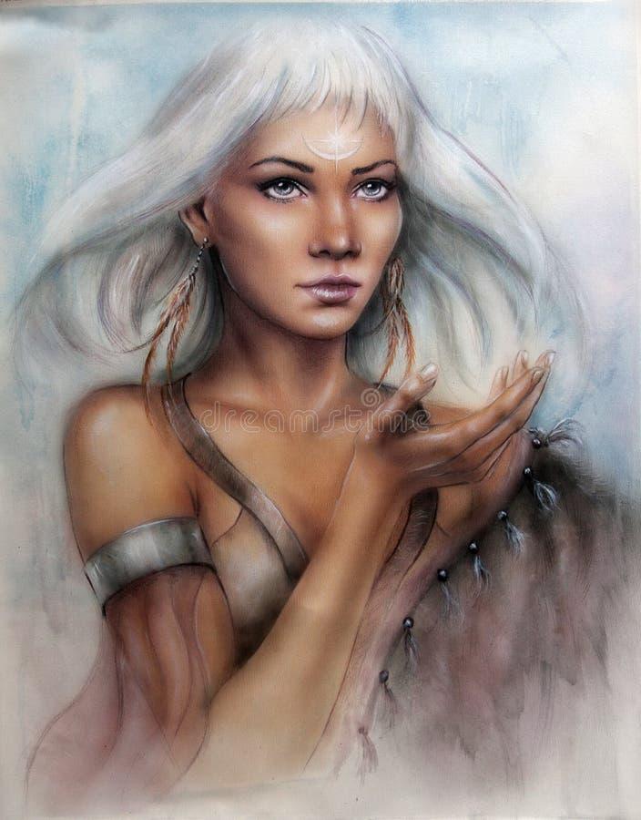 guerreiro indiano da mulher encantador nova com cabelo brilhante branco das penas e uma palma esticada ilustração stock