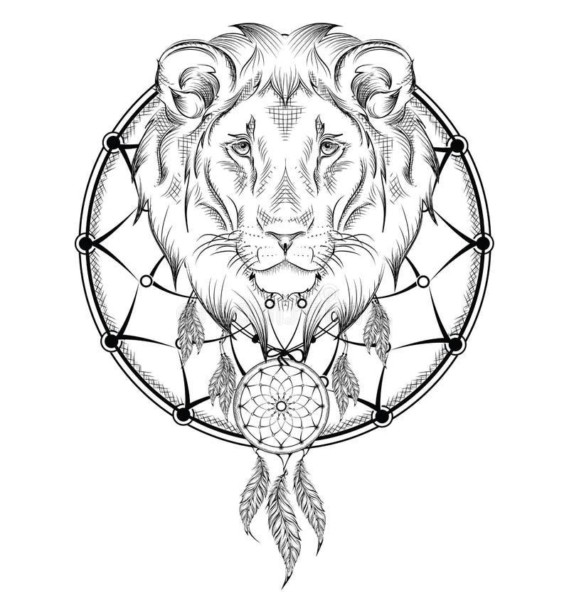 Guerreiro indiano do leão, mão animal ilustração tirada, cartaz do nativo americano Ilustração do vetor da tração da mão ilustração royalty free