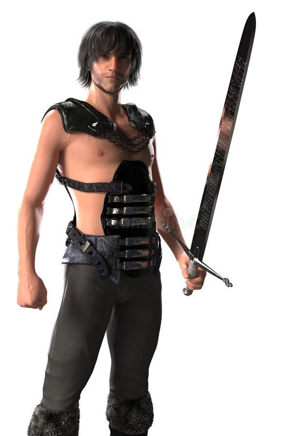 Guerreiro masculino considerável descamisado da fantasia em Armor Isolated ilustração do vetor