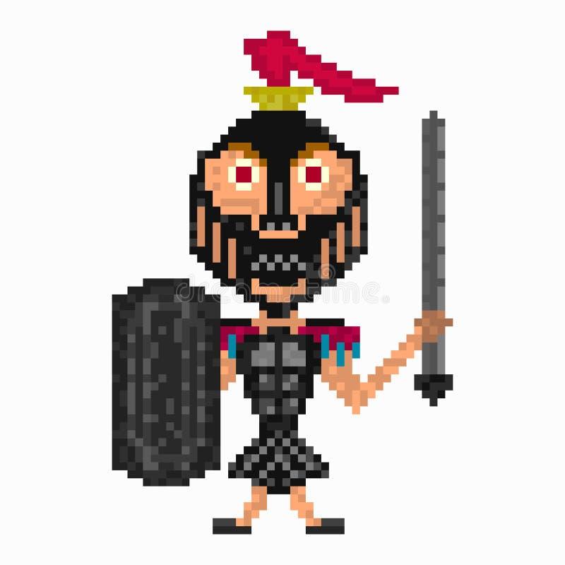 Guerreiro na arte do pixel da armadura ilustração royalty free
