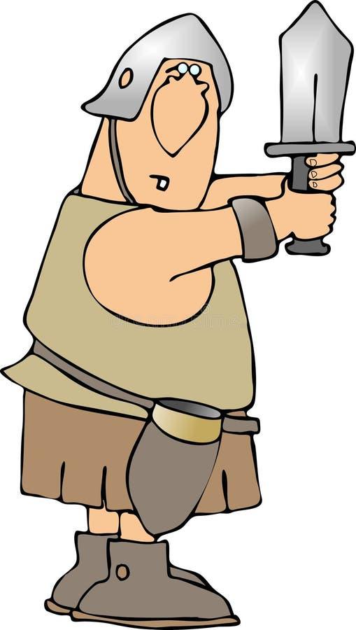 Guerreiro que prende sua espada ilustração do vetor