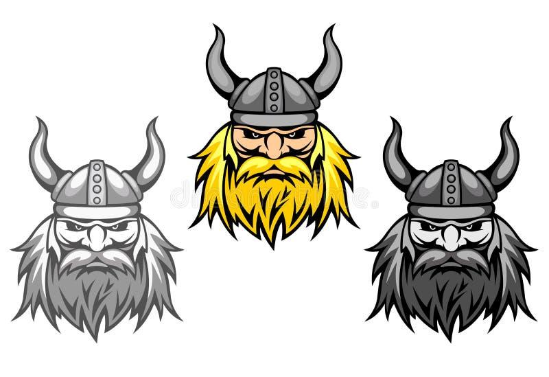 Guerreiros agressivos de viquingue ilustração stock