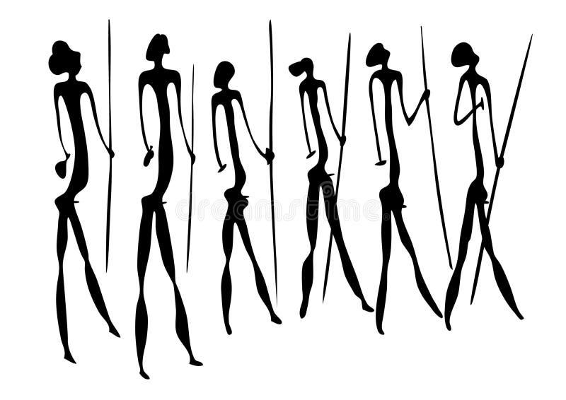 Guerreiros - arte primitiva ilustração royalty free