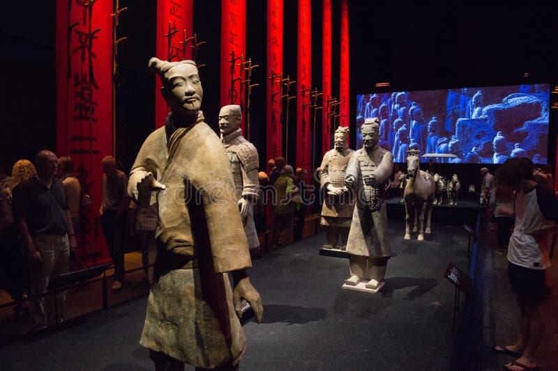 Guerreiros chineses da terracota no museu de Moesgaard, Aarhus, Dinamarca foto de stock