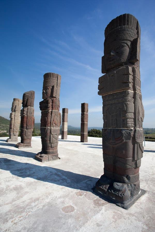 Guerreiros de Toltec. Ruínas antigas de Tula de Allende fotos de stock royalty free
