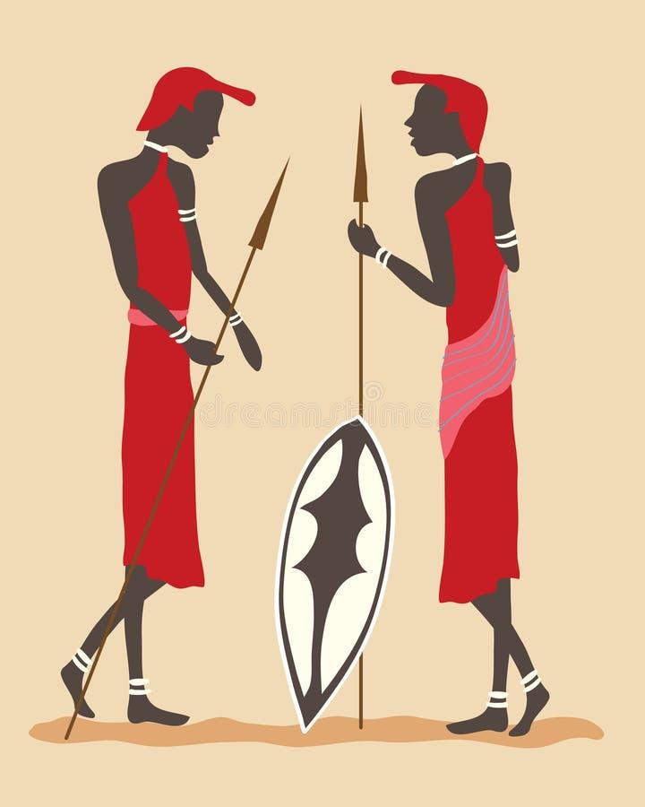 Guerreiros do Masai ilustração stock