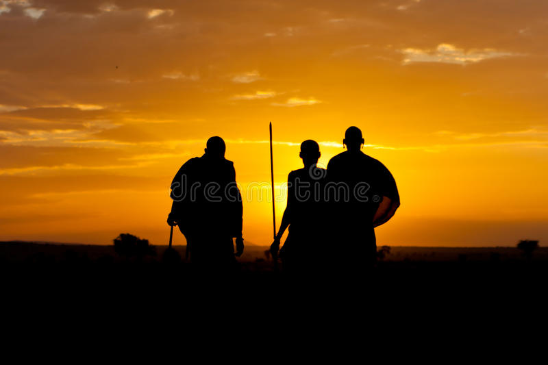 Guerreiros do por do sol foto de stock royalty free