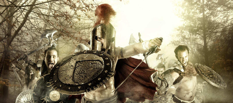 Guerreiros/gladiadores antigos imagens de stock