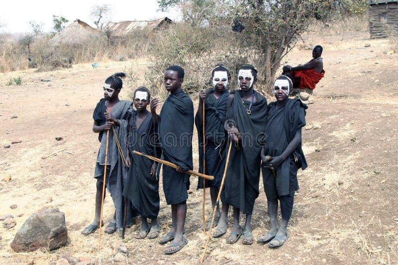 Guerreiros novos do Masai fotos de stock