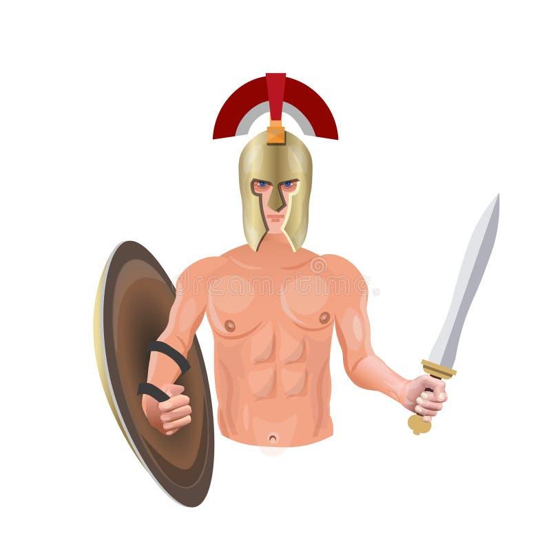 Guerrero antiguo con la espada ilustración del vector