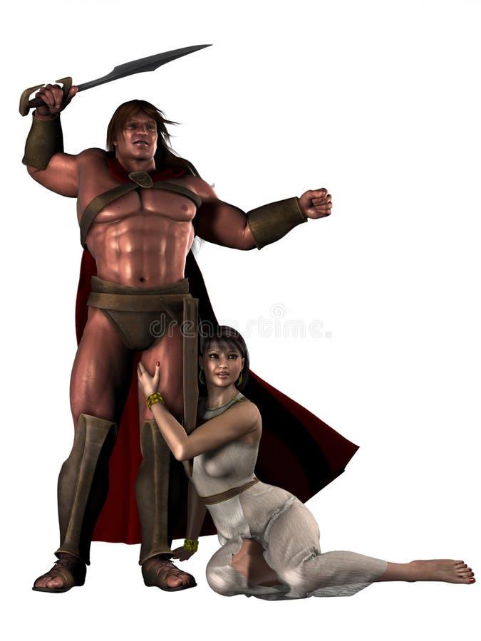 Guerrero bárbaro de la fantasía con el compañero femenino ilustración del vector