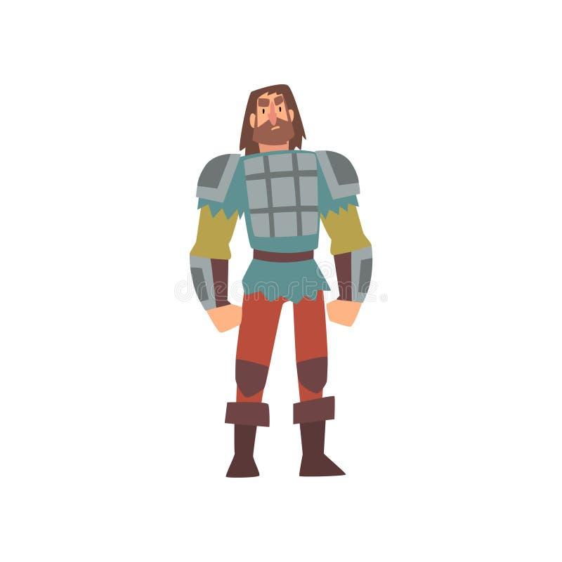 Guerrero bárbaro en amorío, personaje de dibujos animados histórico medieval en el ejemplo tradicional del vector del traje stock de ilustración