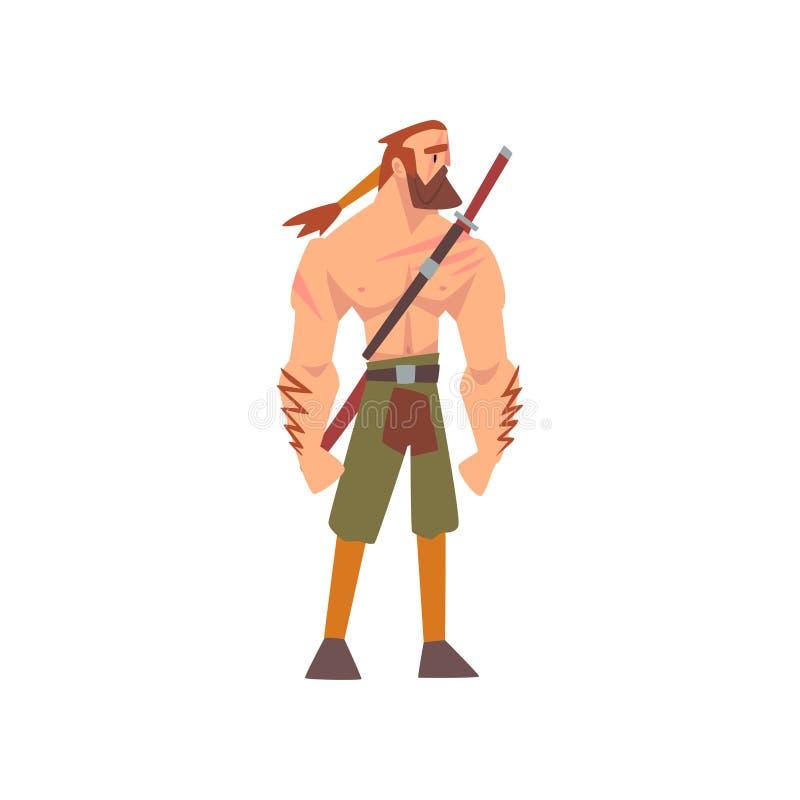 Guerrero bárbaro muscular con la espada, personaje de dibujos animados histórico medieval en el ejemplo tradicional del vector de ilustración del vector