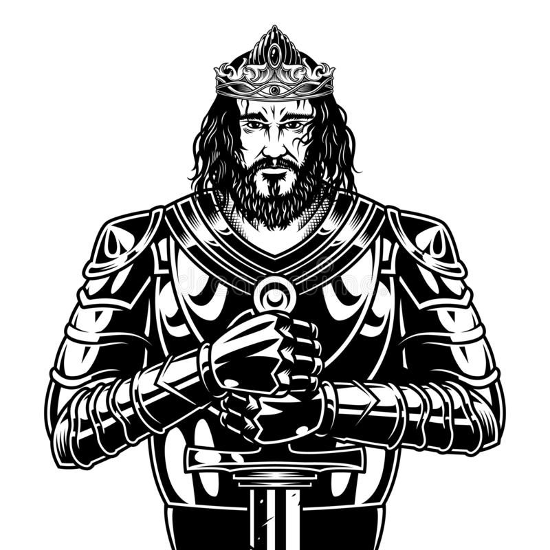 Guerrero barbudo valiente del rey del vintage ilustración del vector