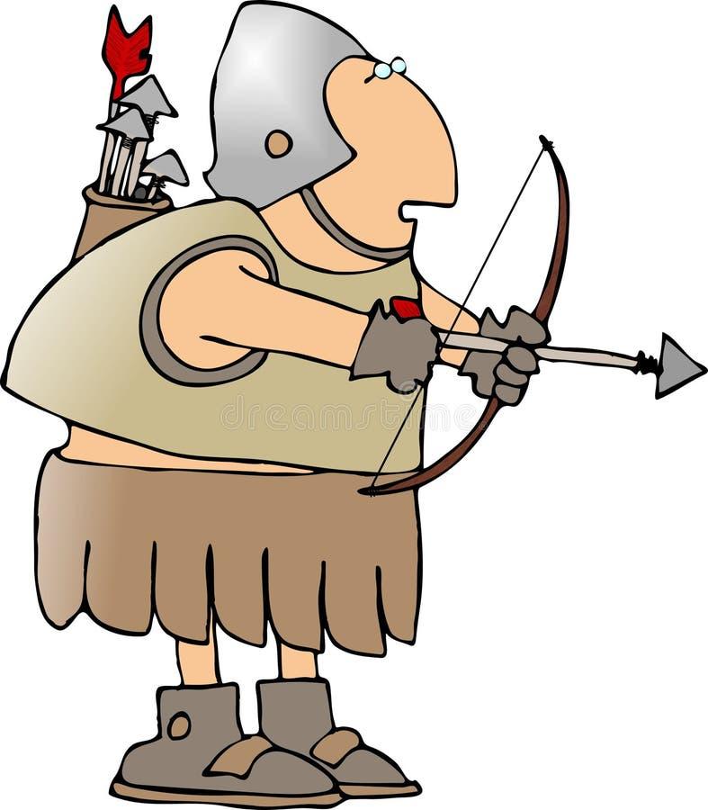 Guerrero con un arqueamiento y una flecha ilustración del vector