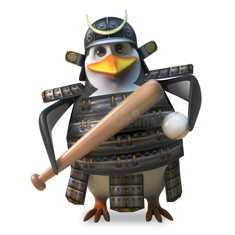 Guerrero de amor del samurai del pingüino del deporte que sostiene un bate de béisbol y una bola, ejemplo 3d libre illustration