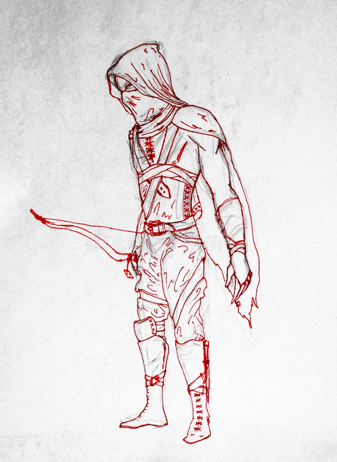 Guerrero de Archer en máscara Figura pluma roja Las vestiduras antiguas del arquero del guerrero stock de ilustración