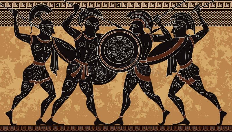Guerrero de Grecia antigua Figura negra cerámica Escena del griego clásico fotografía de archivo