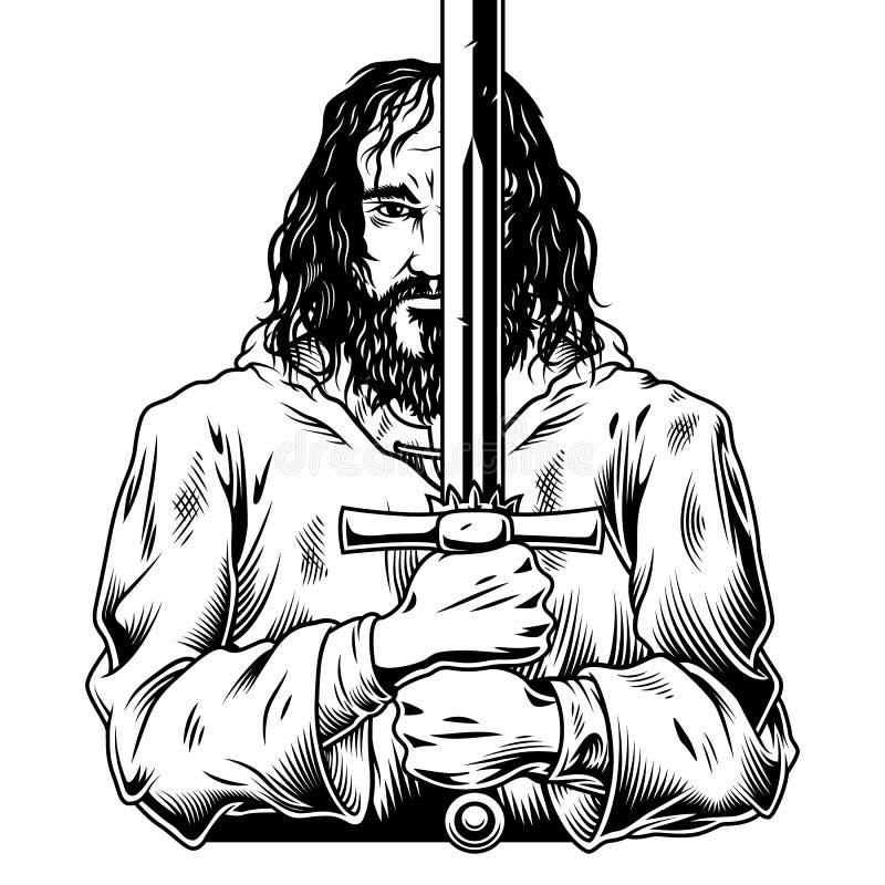 Guerrero de la fantasía con la espada ilustración del vector