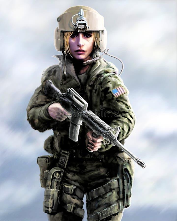 Guerrero de la muchacha en un casco y con el rifle de asalto en sus manos imagen de archivo