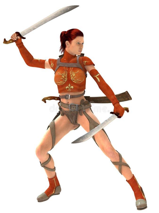 Guerrero de la mujer con las espadas libre illustration
