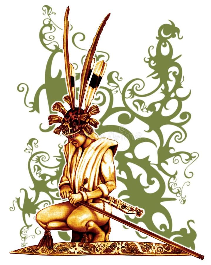 Guerrero del Dayak ilustración del vector