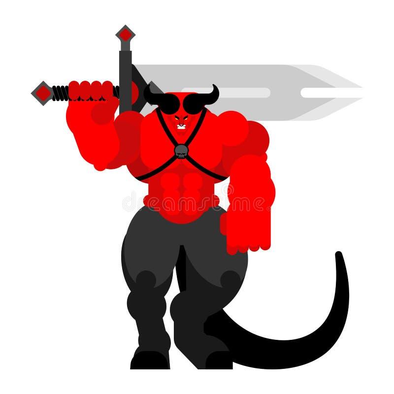 Guerrero del demonio con la espada Diablo fuerte satan rojo frenético Guerreros del infierno Ilustración del vector libre illustration