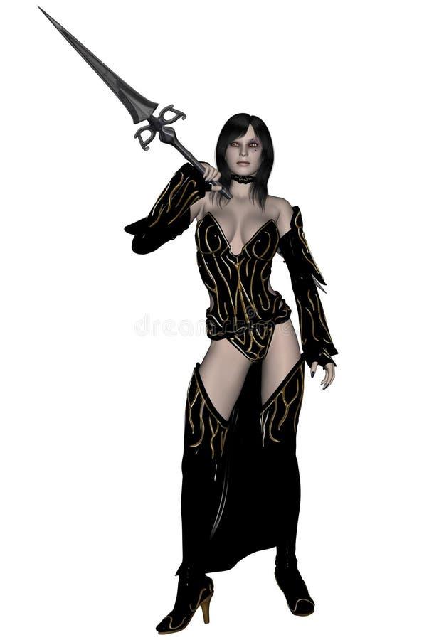 Guerrero del duende de la mujer con la lanza ilustración del vector