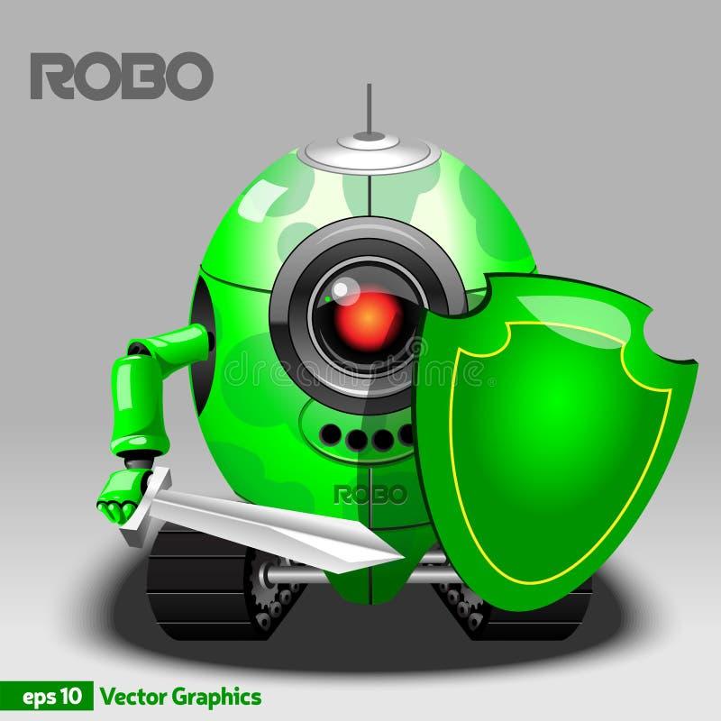 Guerrero del robot con el escudo y la espada ilustración del vector