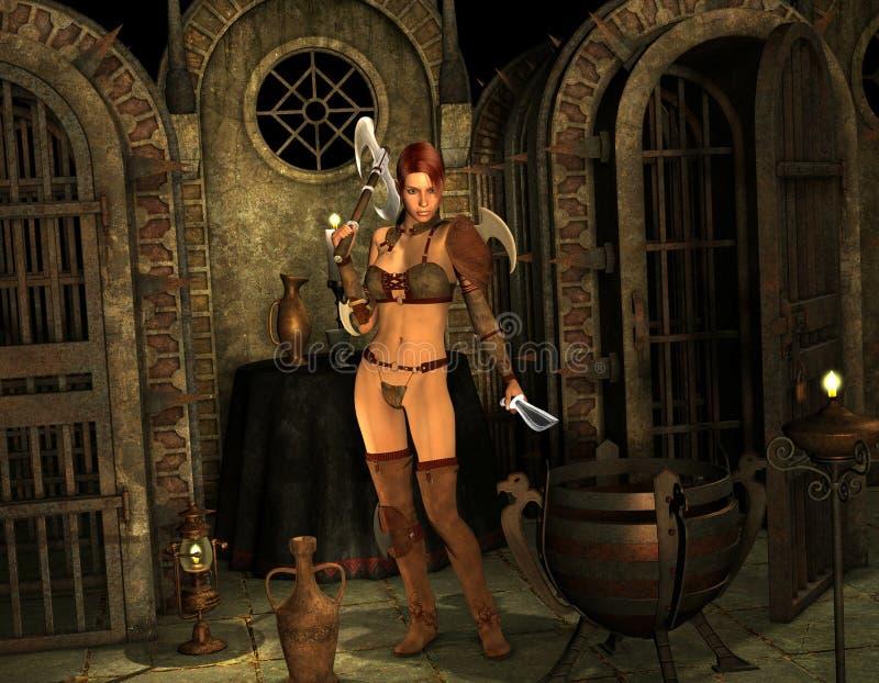 Guerrero en la entrada a la capilla stock de ilustración