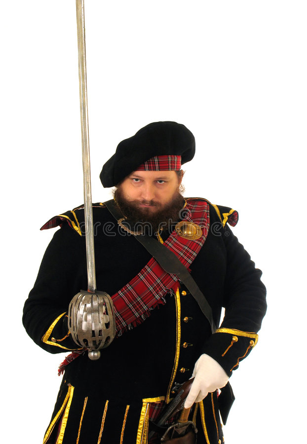 Guerrero escocés con la espada imagen de archivo libre de regalías