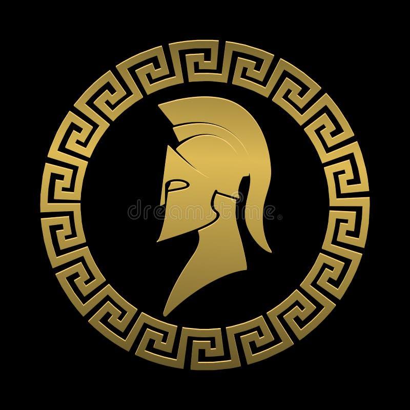 Guerrero espartano del símbolo de oro en un fondo negro ilustración del vector
