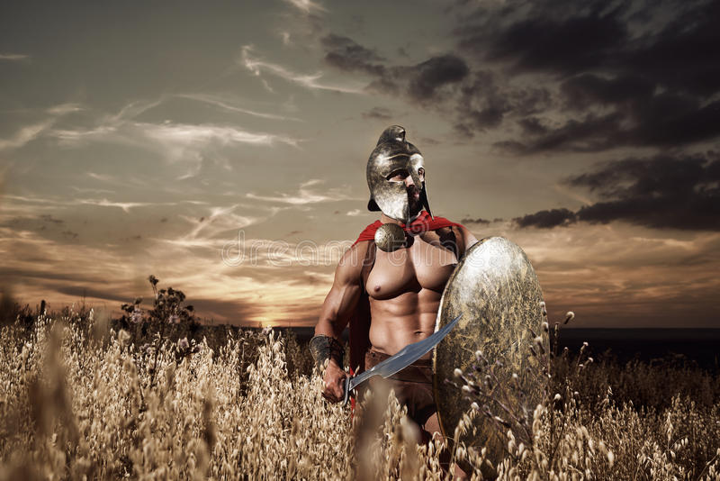 Guerrero espartano joven audaz que presenta en el campo fotografía de archivo libre de regalías
