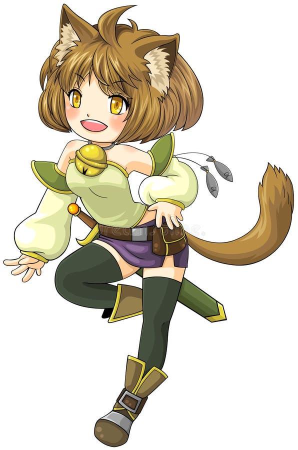 Guerrero femenino del gato de la fantasía en estilo japonés del ejemplo del manga, libre illustration
