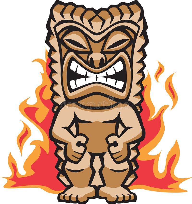 Guerrero feroz Tiki ilustración del vector