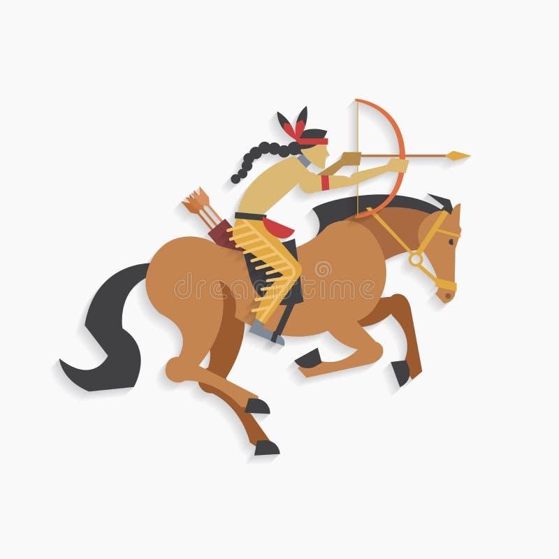 Guerrero indio del nativo americano con el arco y el caballo de montar a caballo de la flecha ilustración del vector