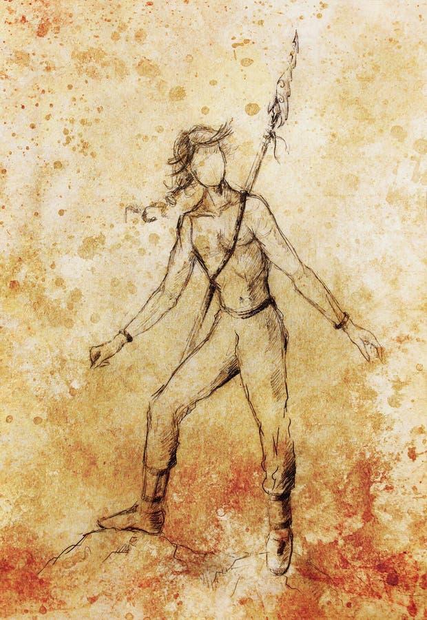 Guerrero indio del nativo americano joven con el arma de la lanza, figura dibujo ilustración del vector