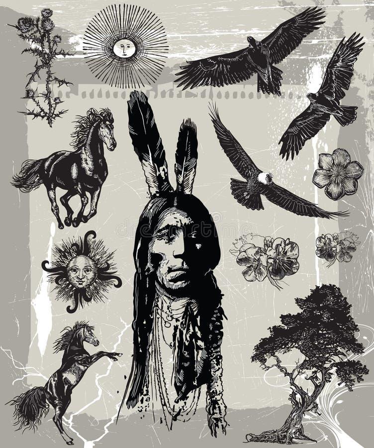 Guerrero indio, retrato de Bull de sentada - bosquejo a pulso, vector libre illustration