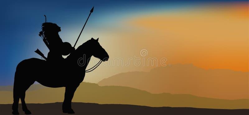 Guerrero indio valiente en montañas stock de ilustración