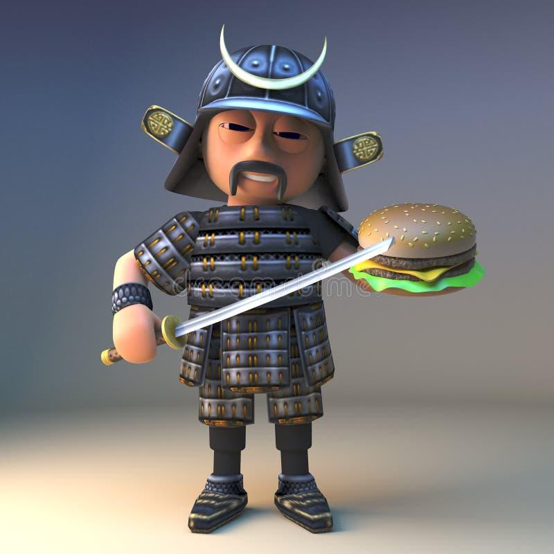 Guerrero japonés hambriento del samurai con la espada del katana que come una hamburguesa del queso, ejemplo 3d ilustración del vector