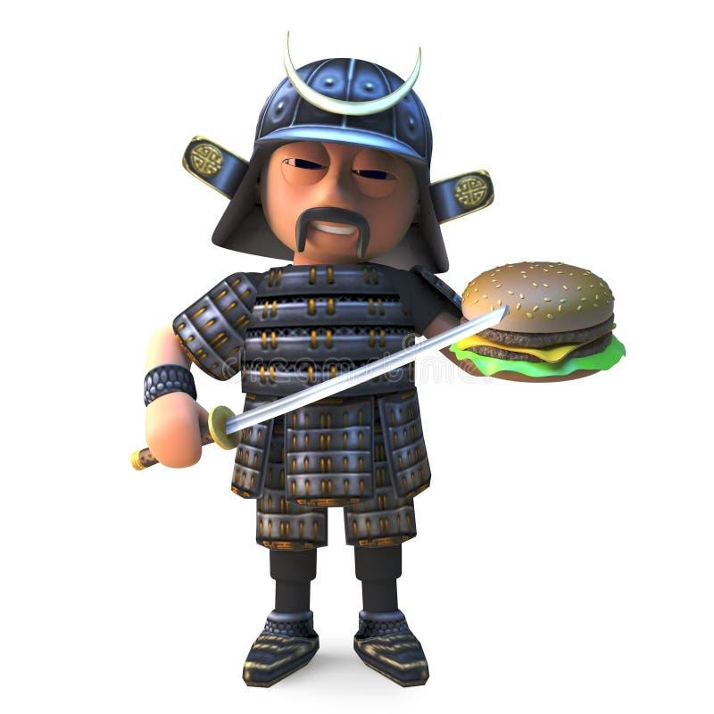Guerrero japonés hambriento del samurai que come un bocado de la hamburguesa del queso, ejemplo 3d ilustración del vector