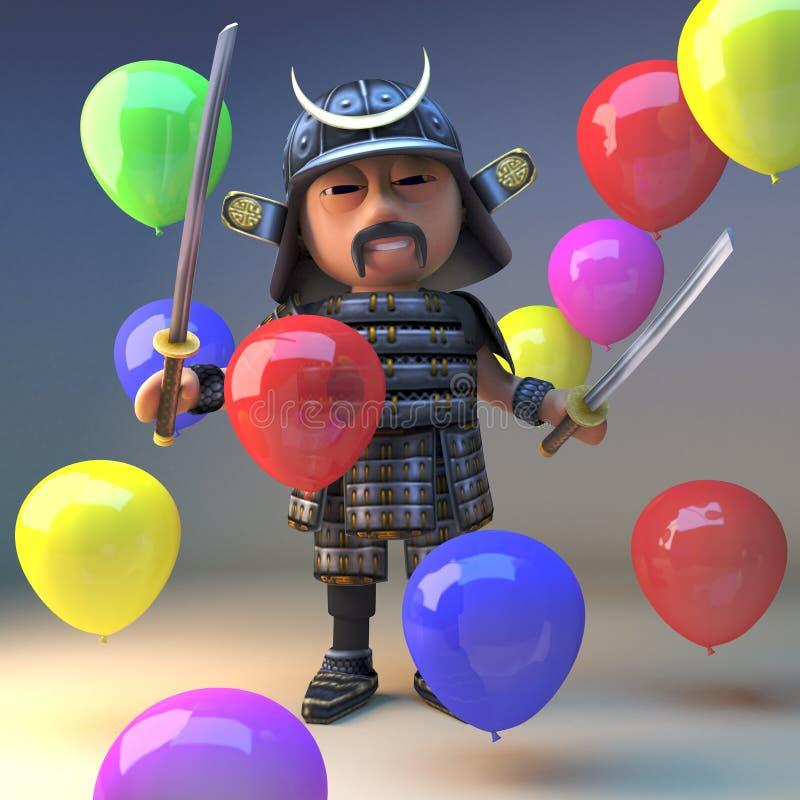 Guerrero japonés valiente con los soportes de las espadas del katana entre los globos coloreados, del samurai ejemplo 3d ilustración del vector