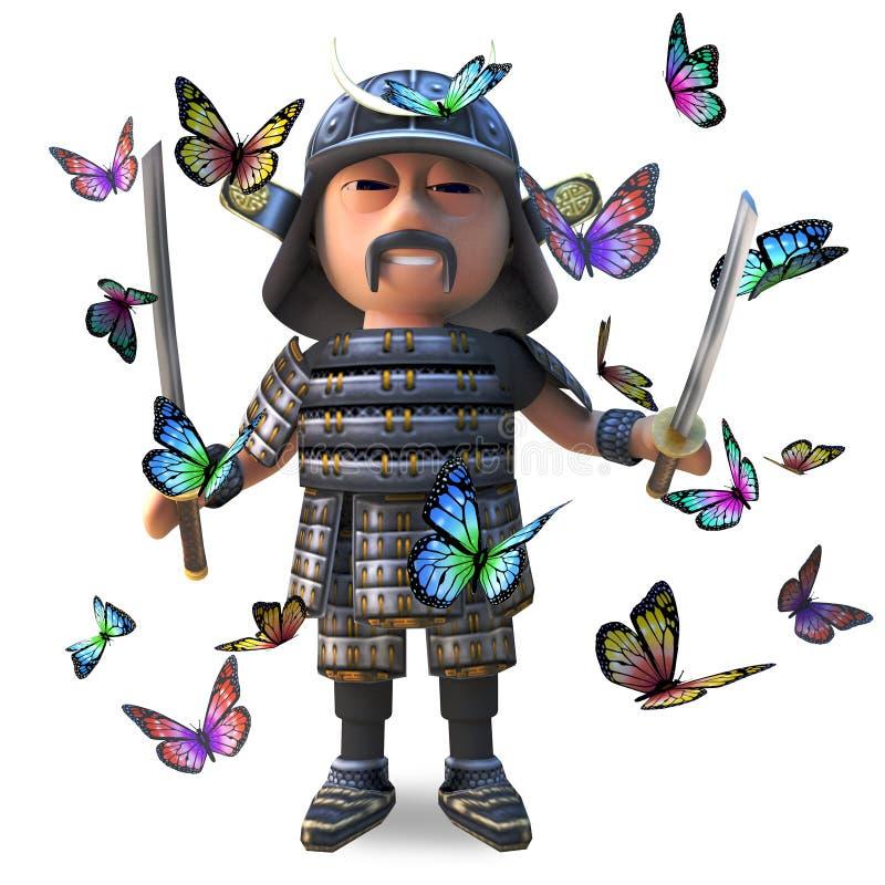 Guerrero japonés valiente del samurai con la espada rodeada por las mariposas hermosas, del katana ejemplo 3d stock de ilustración