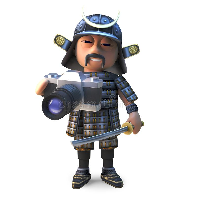 Guerrero japonés valiente del samurai que toma las fotos con su nueva cámara, ejemplo 3d stock de ilustración